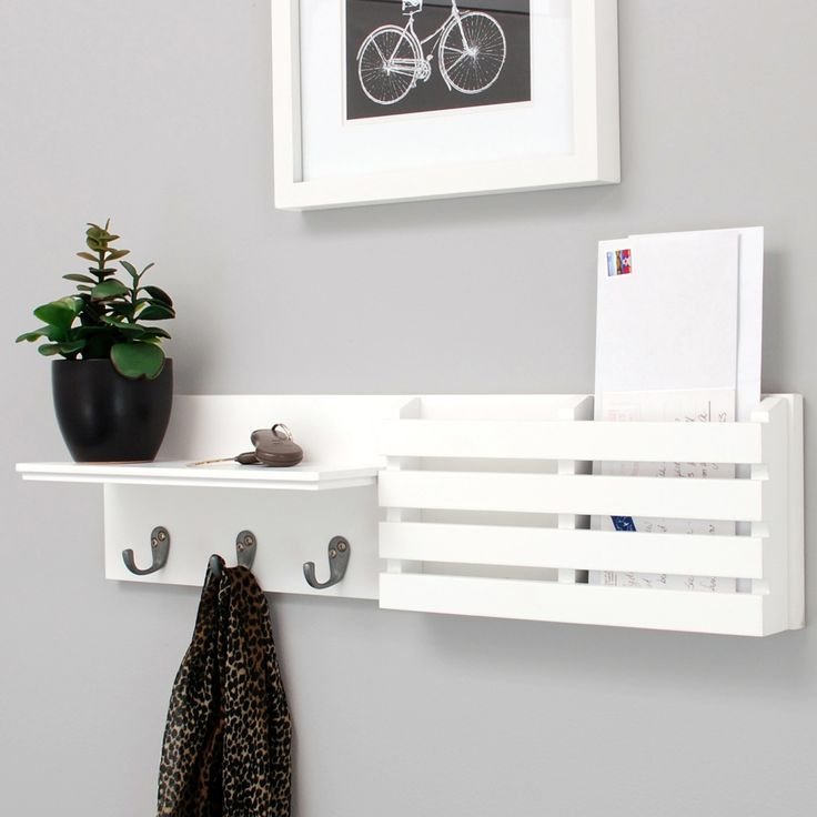 Found it at AllModern - Sydney Wall Shelf and Mail Holder with 3 Metal Hooks