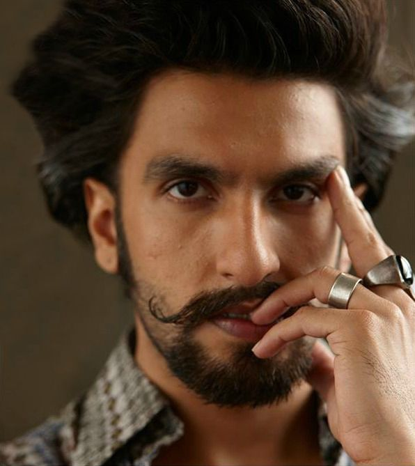 Ranveer Singh//male, Indian, mustache, beard, stubble, black hair, dark hair, brown skin, brown eyes, basically Dorian Pavus