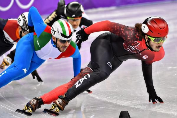 Samuel Girard of Canada, compete in the quarter-finals for the Men's 1000m Short Track Speed Skating finals during the Pyeongchang 2018 Winter Olympics Saturday at the Gangneung Ice Arena in Gangneung, South Korea