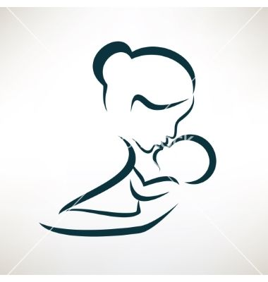 Mother and baby stylized symbol outlined sketch vector on VectorStock