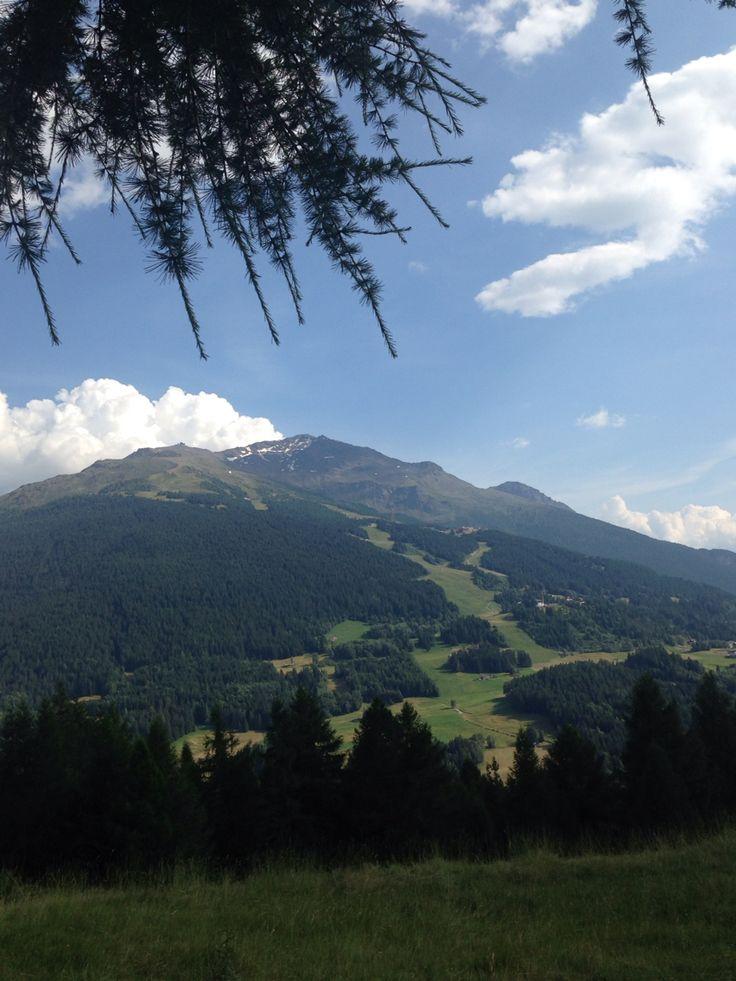 Italia Bormio , la pista Stelvio in versione estiva , vista dalla pedemontana della Reit