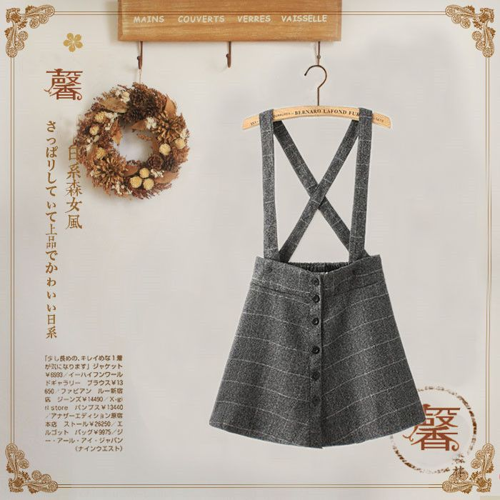 Autumn/ Winter Preppy Style Ladies Gingham Plaid Pleat Overall Skirt Womens Winter Wool Buttons Suspender Skirt