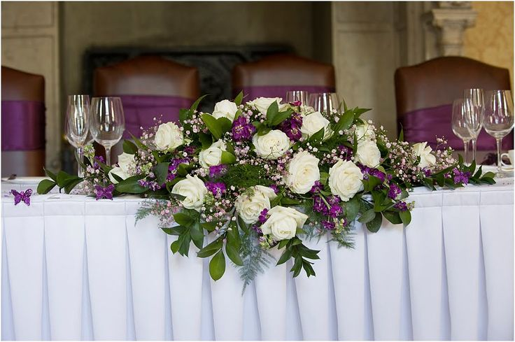 lavender weddings in october | table flowers doubled as the flowers for the top table. Little purple ...