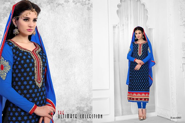 Designer Semi Stitched BLUE Chudidar #SalwarSuit  #craftshopsindia