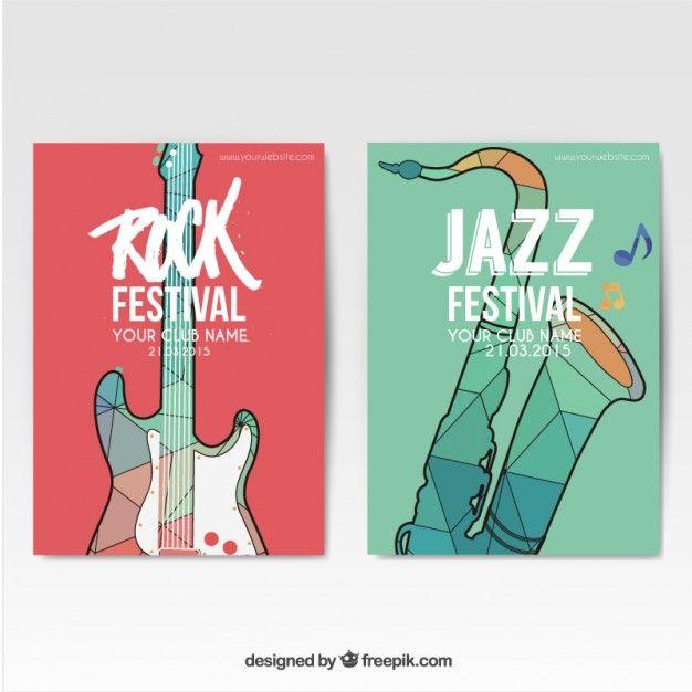 Festival de Música de posters Vetor grátis
