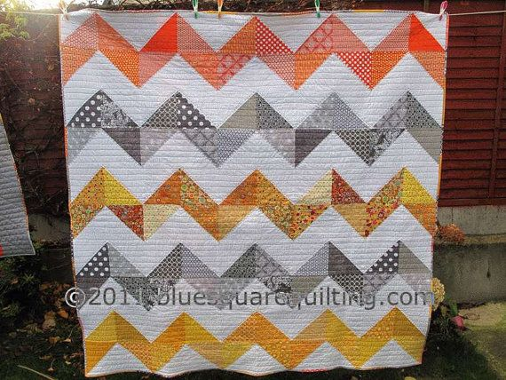 Large Zig Zag Quilt, this looks easy!: Chevron Quilts, Yellow Orange, Color, Diamonds Quilts, Saw Quilts, Orange R, Pretty Chevron, Liberty Chevron, Collaborative Quilts