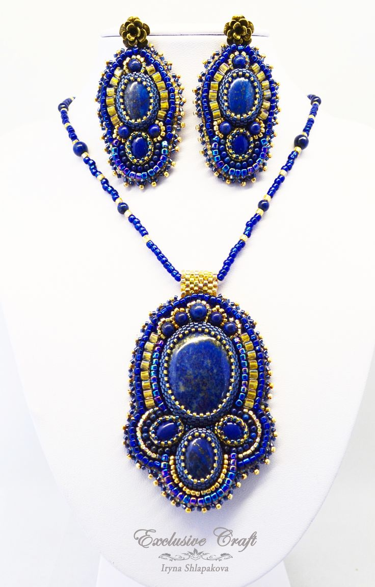 """Bead embroidery jewelry set with Lapis Azul """"Arabian Nights"""" by Exclusive Craft.  www.exclusivecraftforyou.com"""