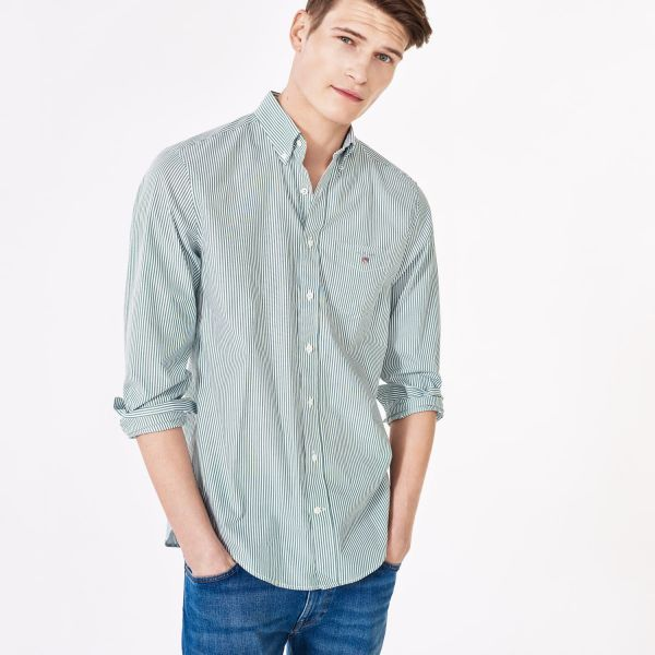 GANT: Green Banker Striped Shirt Men's | GANT USA Store