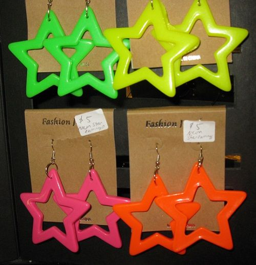 You may be my lucky star! Neon star earrings: Two and a half inch hard plastic stars. $5 pair.