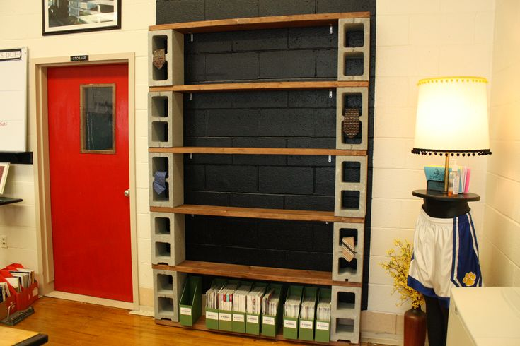 D.I.Y. cinder block shelves for displaying student work (or great for books…