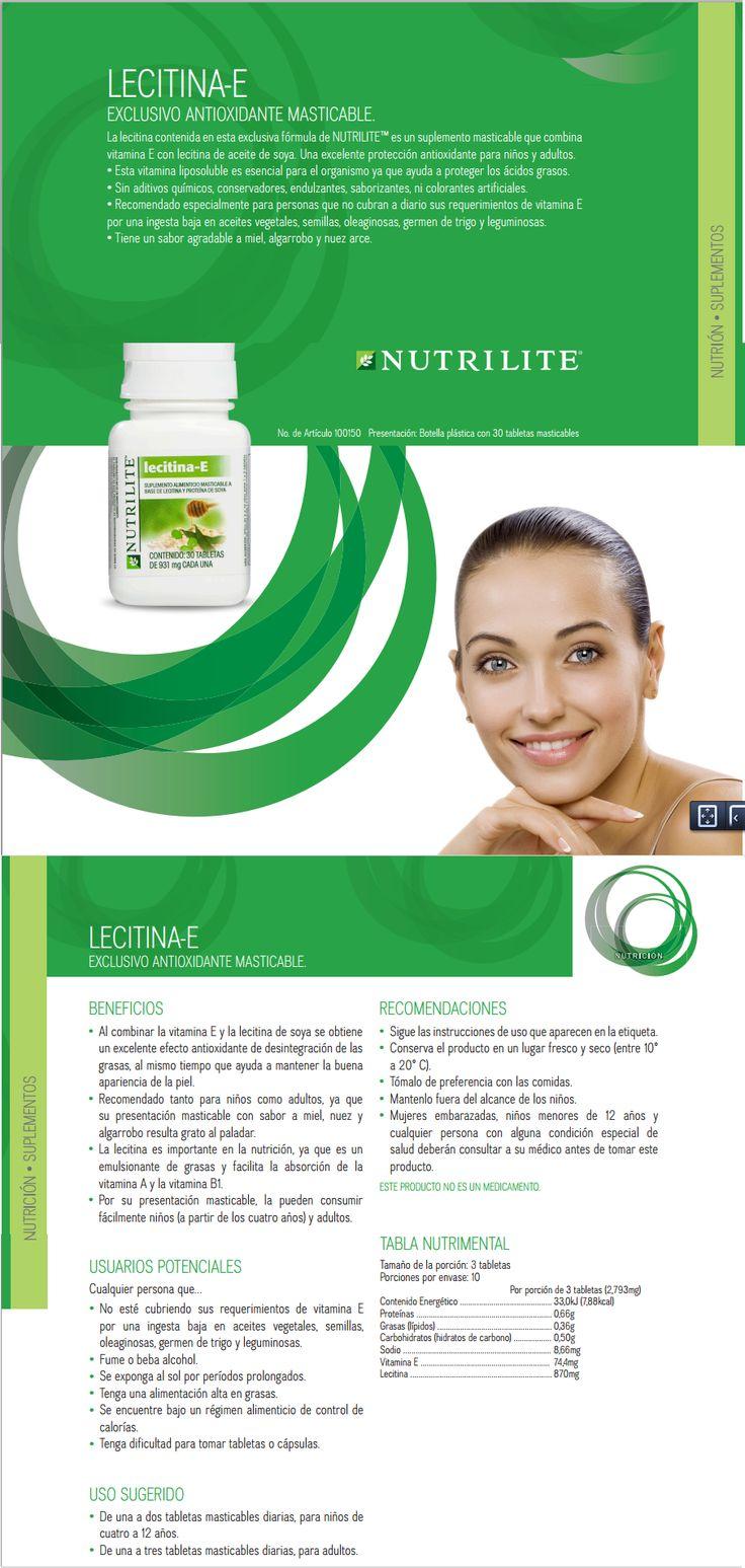 Lecitina E Amway Nutrilite, Fuente de Vitamina E La Lecitina contenida en esta exclusiva fórmula de NUTRILITE TM es derivada del fríjol de soya, además contiene Vitamina E, uno de los principales antioxidantes naturales. www.naturalesnokua.com.co