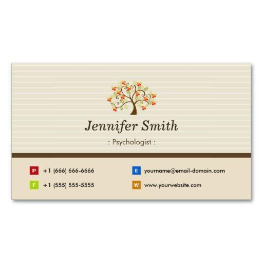 Psychologist elegant tree symbol business card for Business card symbols