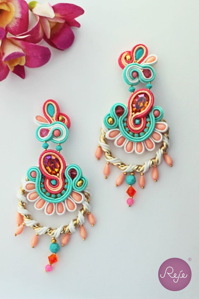 Soutache hoop earrings Entirely hand-sewn by Reje, Italian jewelry designer.