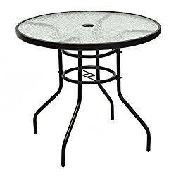 Tangkula 31 1/2″ Round Tempered Glass Metal Table Outdoor Garden Pool Table