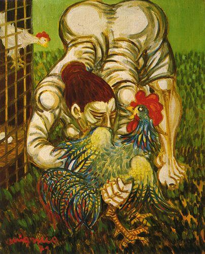 Giuseppe Migneco Donna con gallo, 1971 Olio su tela, cm 50x40
