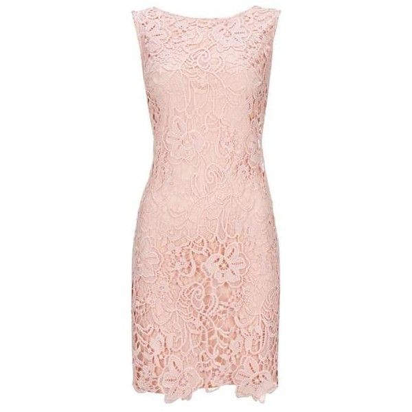 Pale Pink Crochet Lace Shift Dress (2,335 DOP) ❤ liked on Polyvore featuring dresses, pink dress, crochet lace dress, pink shift dress, shift dress and pale pink dresses