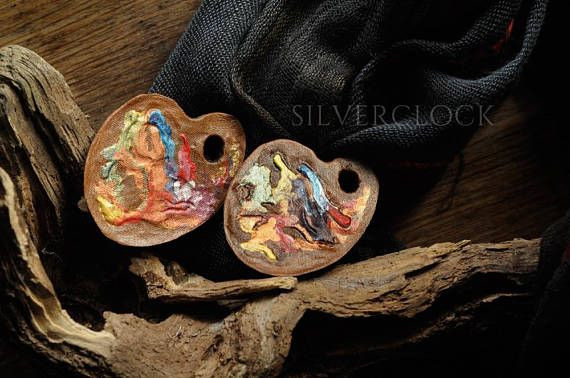 PAINTERS PALETTE PIN leather brooch artistic jewelry painter