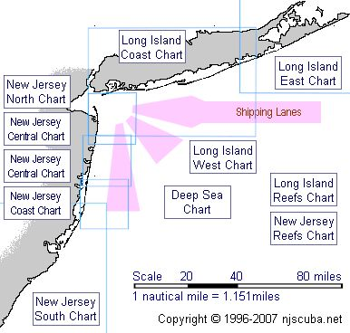 Extensive map of NJ & NY dive sites.  Several hundred dive sites detailed.