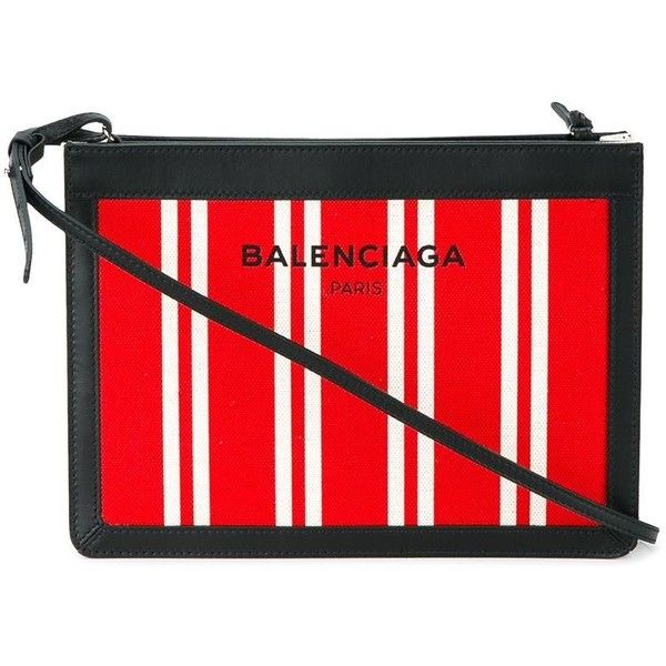 Balenciaga Balenciaga Stripe Cross-Body Bag (2.280 RON) ❤ liked on Polyvore featuring bags, handbags, shoulder bags, red cross body purse, cotton shoulder bag, red purse, balenciaga and red shoulder bag