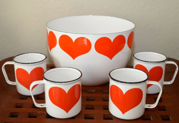 Just Reduced - Four - RARE - Vintage Arabia Finel Hearts Mugs - Finland on Etsy, $300.00