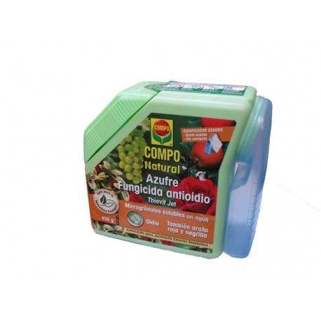 Azufre fungicida antioídio Compo.Especialmente indicado contra el oídio de frutales, plantas ornamentales, arbustos y árboles, la negrilla y la araña roja u otros ácaros. Azufre mojable al 80% http://www.elrincondeljardin.es/fungicidas/242-azufre-fungicida-antioidio-compo-450g-8411056590179.html
