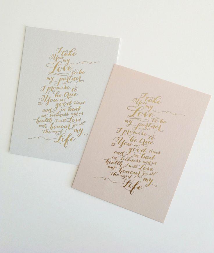 Gold Foil Wedding Vow Print  Letterpress or by inkandpaperdesign, $20.00