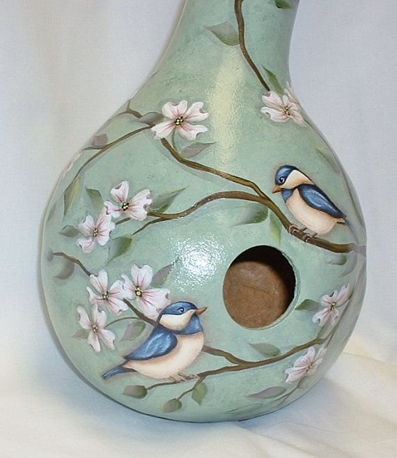 Chickadees with Dogwood Flowers Gourd Birdhouse  by FromGramsHouse, $38.00