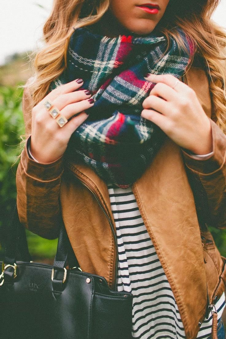 Striped Shirt, Brown Jacket with a Plaid Scarf:
