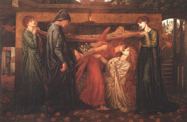 Curiosità & Arte: Il sogno di Dante alla morte di Beatrice ( 1871 ). L'amore di Rossetti per Dante risente dell'influenza del padre, Gabriele, italiano costretto all'esilio a causa della partecipazione ai moti liberali del 1820.