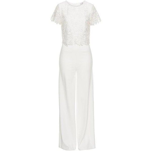 Lace Bodice Jumpsuit ($7,785) ❤ liked on Polyvore featuring jumpsuits, special occasion jumpsuits, floral jumpsuit, wide leg jumpsuit, white wide leg jumpsuit and white floral jumpsuit
