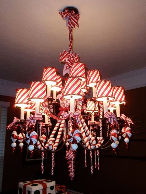 candy cane chandelier <3 this! The stripes, so festive. #christmas candy_cane