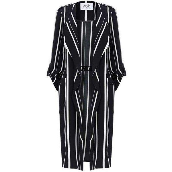 Ivory Striped Duster Jacket ($50) ❤ liked on Polyvore featuring outerwear, jackets, striped jacket, stripe jacket, ivory jacket, duster jacket and white winter jacket