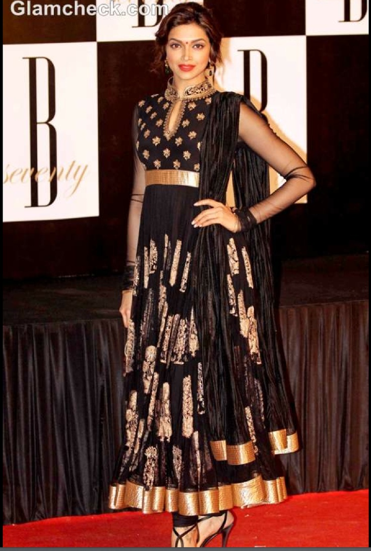 Bollywood Actress Deepika Padukone in black and gold Rohit Bal Anarkali dress. I cannot express how badly I want this Anarkali dress!!!!