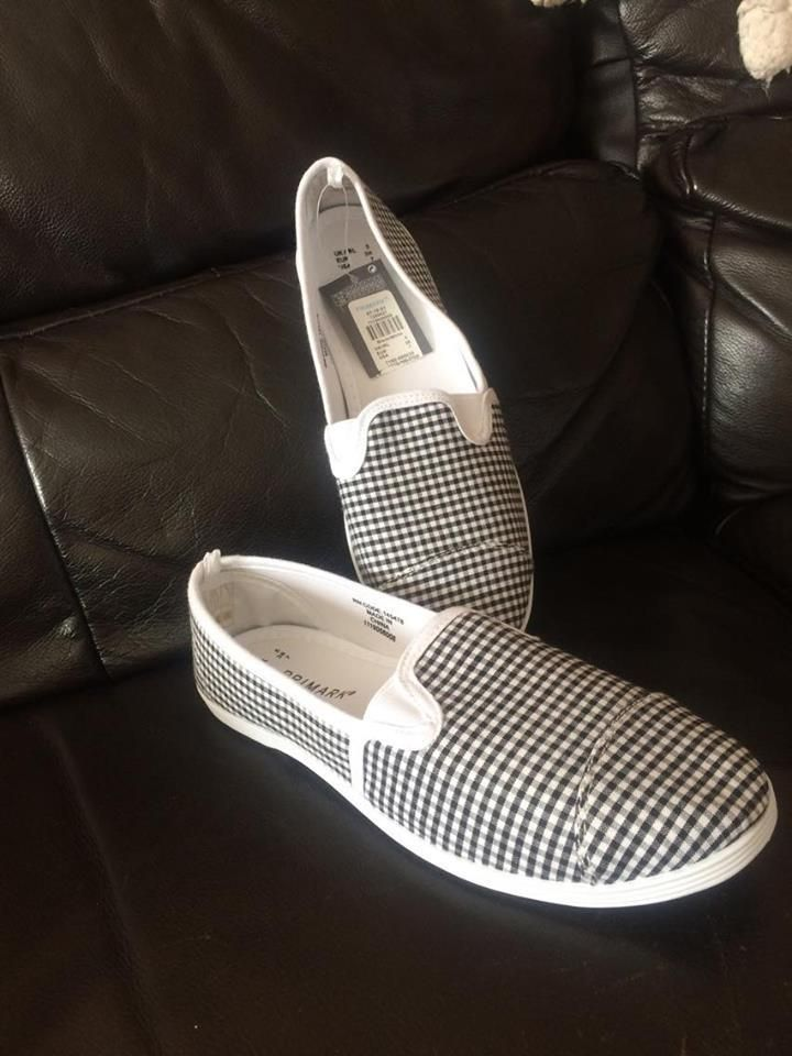 1d40eec249 Womens Checkered Slip On Flat Canvas Shoes Ladies Trainers Loafers Primark  NEW