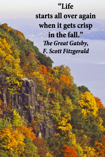 """""""Life starts all over again when it gets crisp in the fall.""""  The Great Gatsby, F. Scott Fitzgerald – On autumn image of Palisades in New York state taken by the McGinns.  Literature reveals insights that influence perceptions and actions.  Explore forty, wonderful quotes to inspire fresh creativity published at http://www.examiner.com/article/forty-quotations-for-writing-inspiration"""