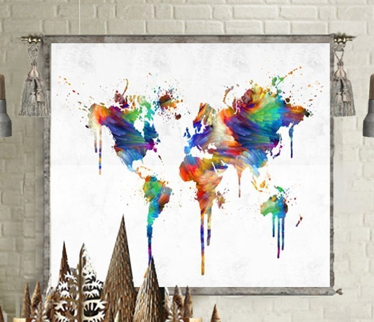 World map poster tapestry wall hanging large canvas wall art print painting home decor for kids room. World map tapestry wall hanging print on canvas or world map poster art print in digital professional photo print at Glossy or semigloss Poster Paper ***Dimension and Description For Canvas Trapesty*** * Canvas size: 35 x 40 inches * Metal hanging rods included. * Antiqued gold patina brass finishes included. ***Dimension and Description For Poster*** ►Paper: Premium Glossy or semigloss…
