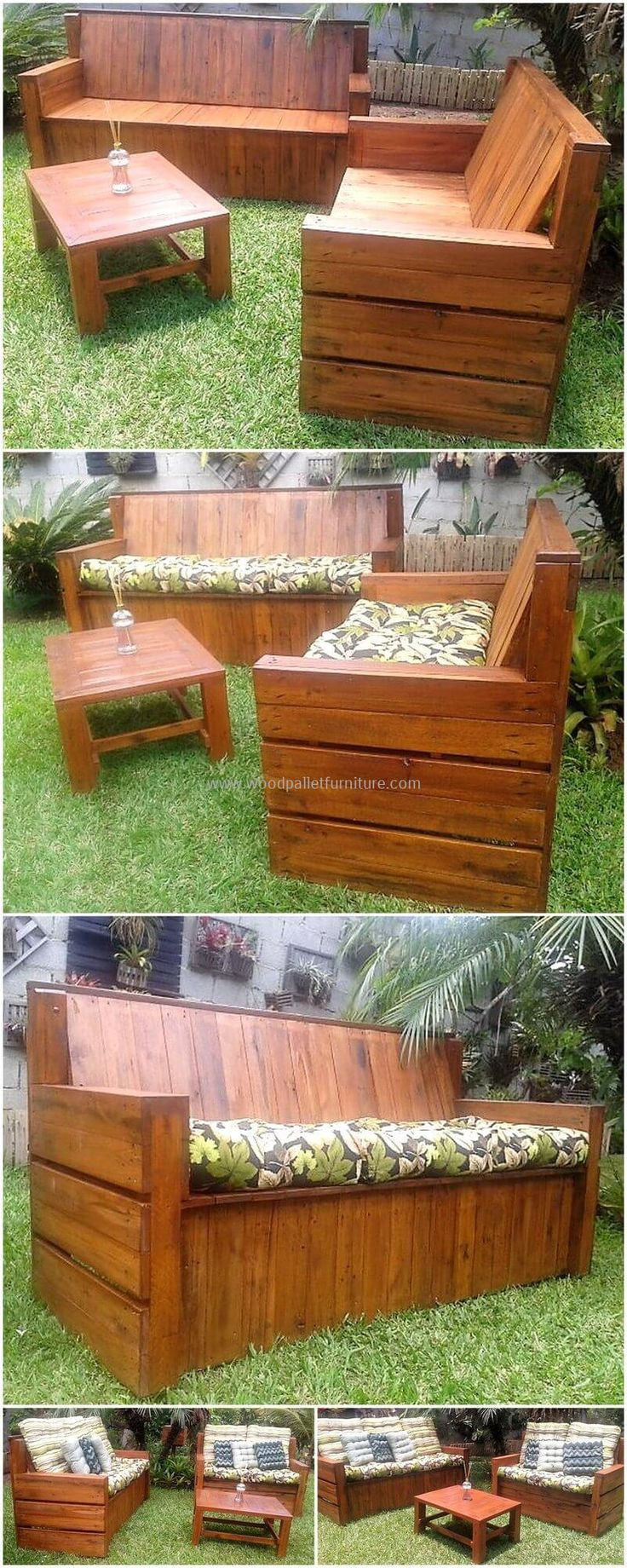 This garden wooden pallet furniture set is so appealing and incredible plan to be created for your beautiful garden. The wooden texture of this pallets project is letting the whole environment to breathe. Craft this furniture set to fulfill your seating needs in your garden.