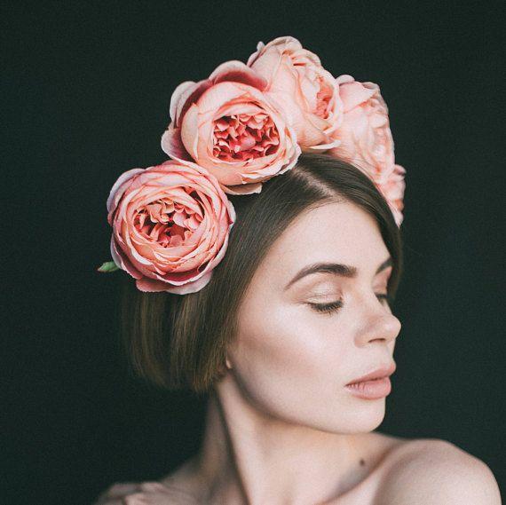 Mexican flower crown, headdress, frida kahlo headband, large flower crown, boho festival headband, delicate pink, floral headband, wreath