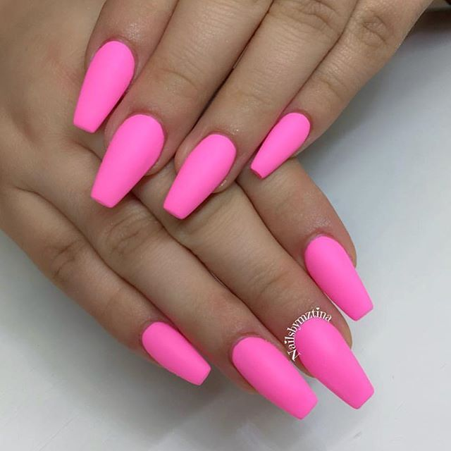 bright barbie pink nailed