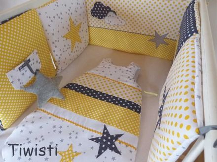 ensemble mixte tour de lit coussins modulable et gigoteuse 0 6 mois jaune gris blanc toile. Black Bedroom Furniture Sets. Home Design Ideas