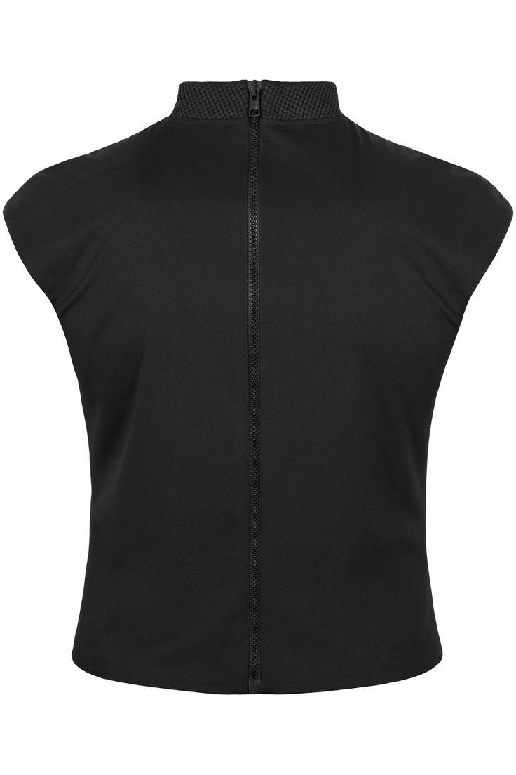 czarny cropped blouse z ozdobnym kołnierzykiem #black #cropped #croppedblouse #ranitasobanska