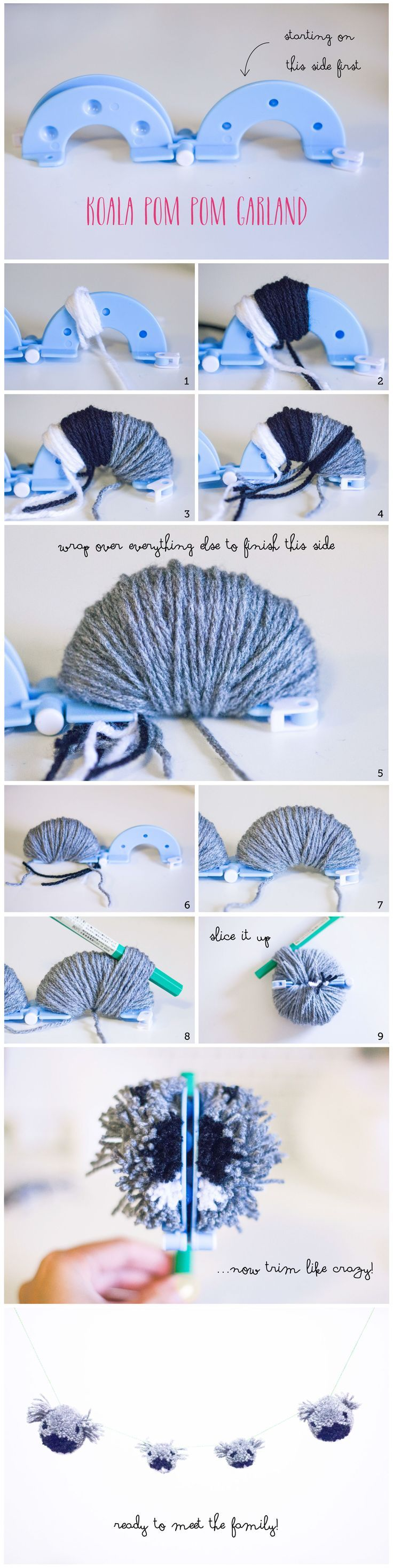Koala Family Pom Pom Garland | Helarious#pompoms #koalas #craft #diy