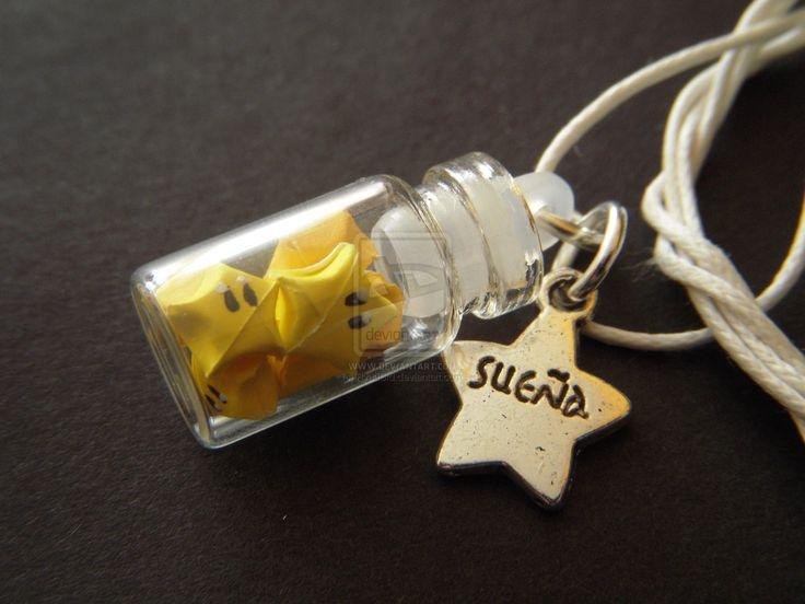 origami star inside cute glass bottle.. #keyring #DIY #star #nintendo