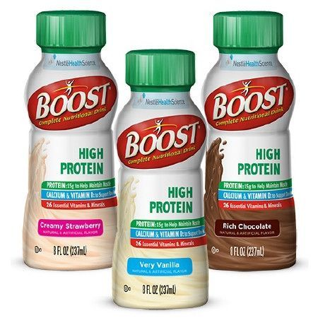 Boost High Protein 8 oz. Bottle Ready to Use | Nestle Nutrition. Boost® HighProtein Bottle  Boost High Protein Bottle from PRO2Medical.com on sale only $47.65 per case. Boost High Protein is created to provide protein nutritional drink. Nutrition for malnutrition or reduced appetite.  Complete Nutritional Drink Nutritionally Complete Drink with 15 g ProteinVanilla, Strawberry, or Chocolate  Nutritional Support for   General oral supplement needs Increased protein requirements Reduced…