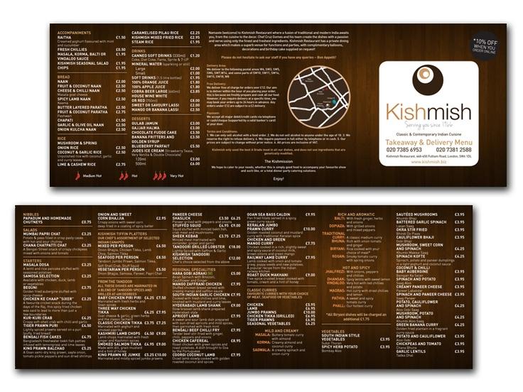 Kishmish takeaway menu