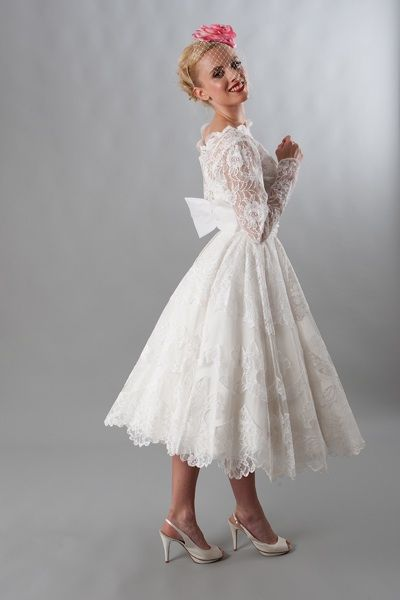 All Over Lace And Bow Back Vintage Via Elizabeth Avey Tail Tea Length Wedding Dresses In 2018 Pinterest