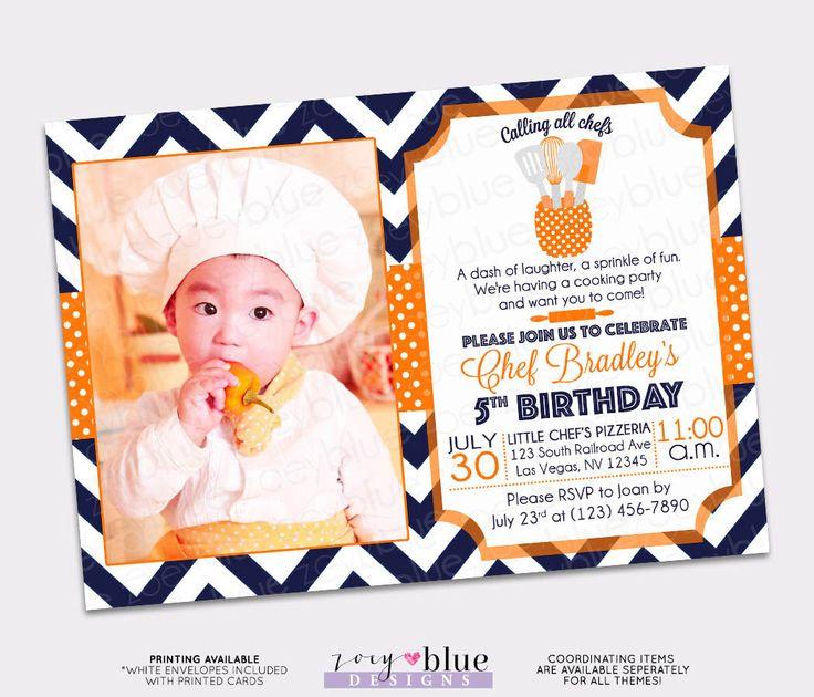 Little Chef Birthday Invitation - Kitchen Birthday Invite - Orange & Navy Chevron- Gender Neutral Birthday Printable Digital File by ZoeyBlueDesigns on Etsy https://www.etsy.com/listing/461001122/little-chef-birthday-invitation-kitchen