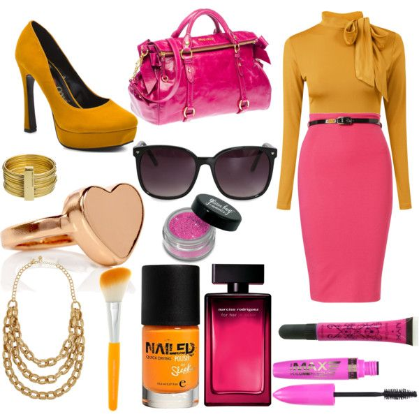 Pink pencil skirt with mustard