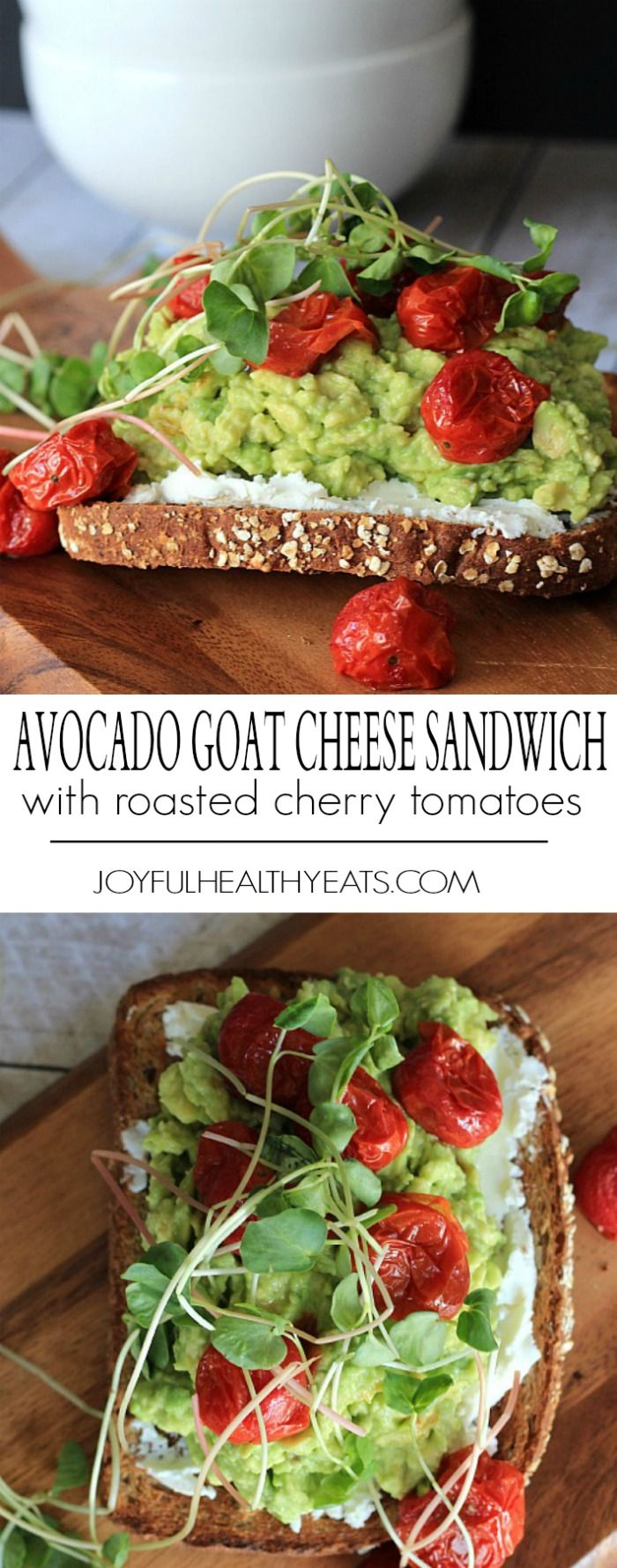 Mashed Avocado Goat Cheese Sandwich topped with roasted cherry tomatoes and sprouts! Healthy, filled with good fats, perfect for a quick lunch recipe!