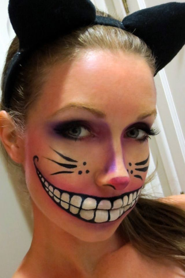 Cheshire Cat Face Paint - Alice in Wonderland fancy dress - theme party.